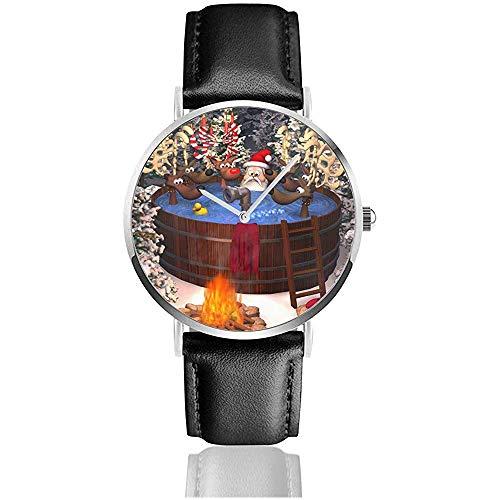 3D-Cartoon-Illustration mit Santa Claus und Mehreren Rentieren in einem Outdoor-Whirlpool Herren Lederarmband Uhren Wrist Casual Watch