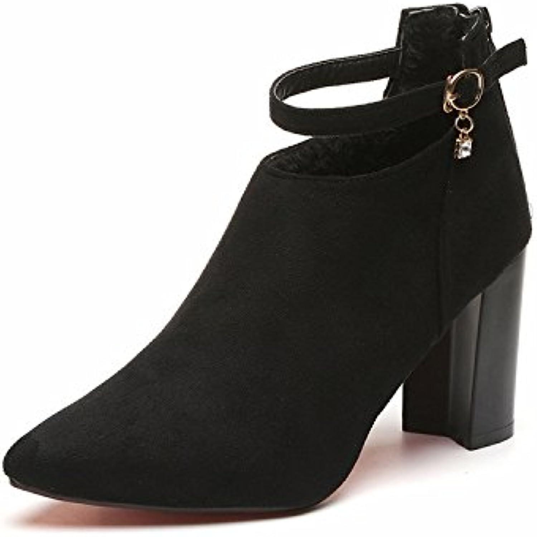 Punta gruesa de satén con zapatos High-Heeled, Zipper hebilla botas de Martin hembra, negro,37