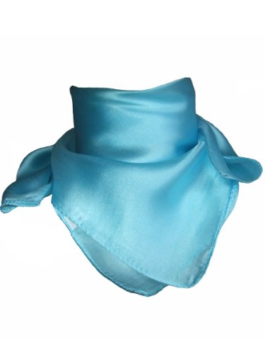 Foulard carré - Tour de Cou - 100 % soie Bleu Ciel