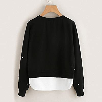 Khhalisi Women's Round Neck Sweatshirt with Pearls and Side Pockets