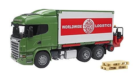 Bruder 03580 - Scania R - Serie LKW mit Container - Wechselbrücke und Mitnahmestapler