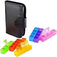 Preisvergleich für Fenteer Pillendose 7 Tage Pillenbox mit Brieftasche, 28 Fächer Tablettenbox für Reise