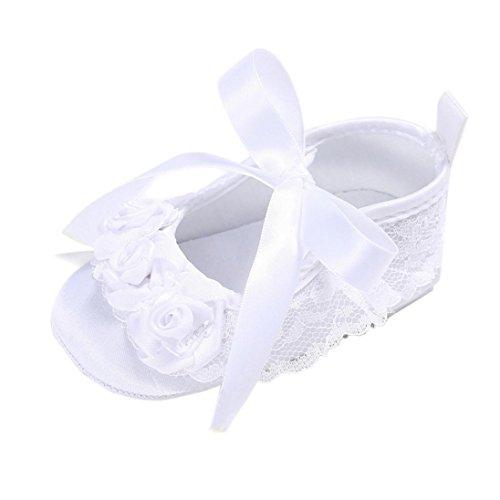Culater® Ragazza del bambino pattini della greppia Newborn Fiore morbida suola anti-scivolo baby Sneakers bianca