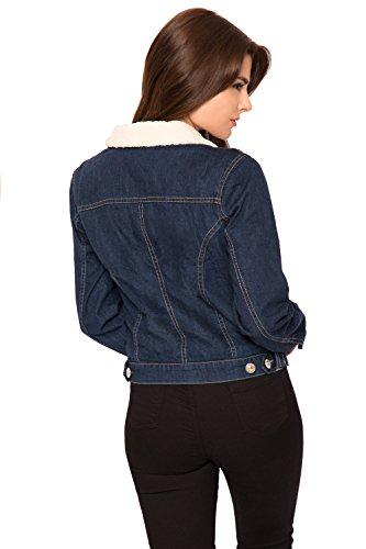 Wearall - Damen Denim Pelz Kragen Ernte Jacke Damen Lang Hülle Reißverschluss Schaltfläche Tasche - 36-42 Blau