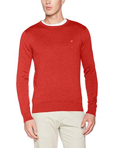 TOM TAILOR Herren Pullover Basic Crew-Neck Sweater Rot (Fresh Hyacinthe Red Melange 4803)