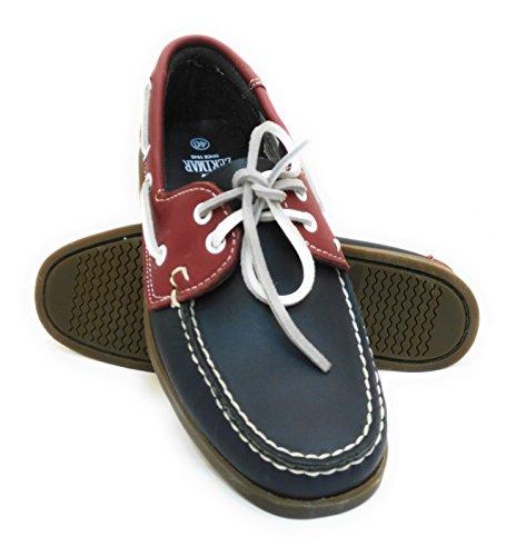 Zerimar. Chaussures nautiques. Fabriqué en cuir de haute qualité. Semelle antidérapante. rouge bleu