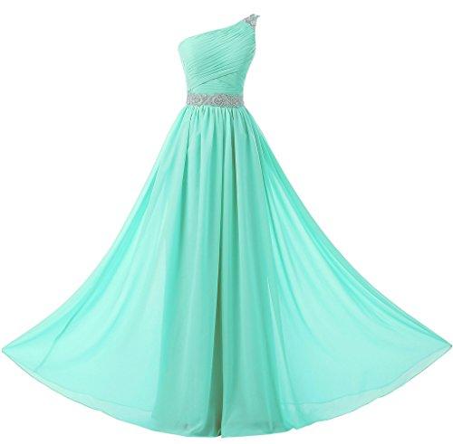 Tiffany Ballkleid (Solovedress Frauen eine Schulter Lange Prom Kleid Chiffon Brautjungfer Kleid Abendkleid (Tiffany Blau, Eur42))