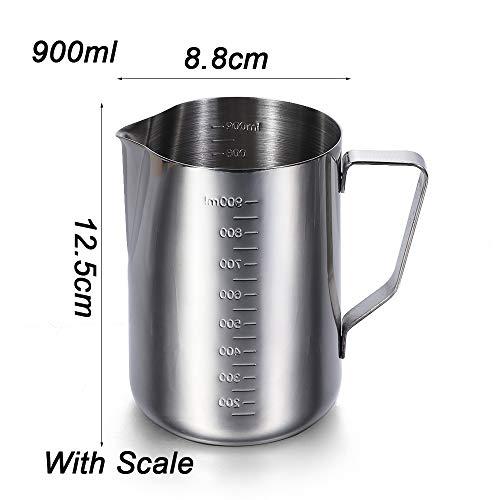 Haushalt Espresso, Latte küche und esszimmer Edelstahl werfer krug - Container Kaffee - Becher Schaum Tasse Milch(900ml with Scale) - Espresso-esszimmer