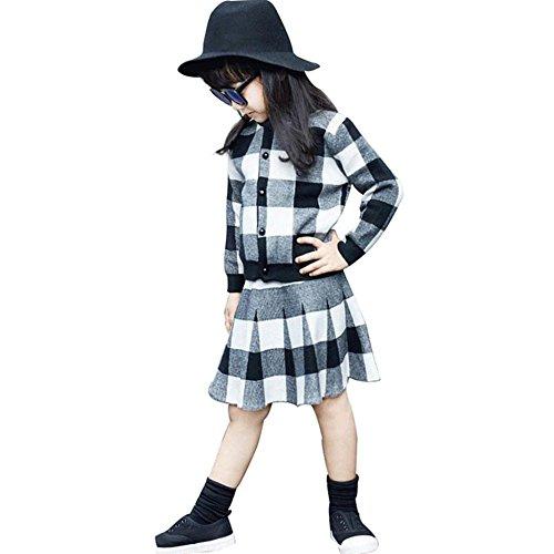 en Weihnachten Outfit Kleidung Softshell Kariertes Gestrickten Pullover Sweater Mantel Tops + Rock Set(5-6T/120CM,A-Schwarz) (Chucks Outfits)