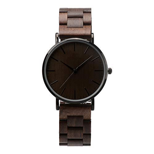 Holzuhr Herren Damen Unisex Holz-Armbanduhr mit Legiertem Uhrengehäuse und Holzarmband (Walnuss) - 2