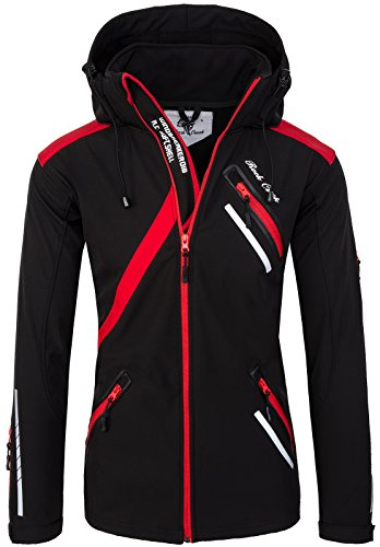 Rock Creek Herren Softshell Jacke Outdoor Regenjacke Softshelljacke Windbreaker Laufjacke Wanderjacke Funktions Sport Jacken H-127 Black 3XL