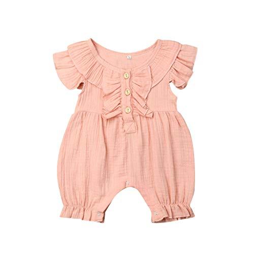 jerffer Softshell Overall Sommer-Säuglingsjungen u. Mädchen-Fliegen-Hülsen-Rüschen-Feste Spielanzug-Overall-Kleidung
