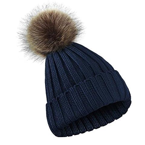 SMILEQ Winter Women Girl Crochet Soft Knitted Hats Skull Caps Ball Beanies Hairball Hat (Navy)