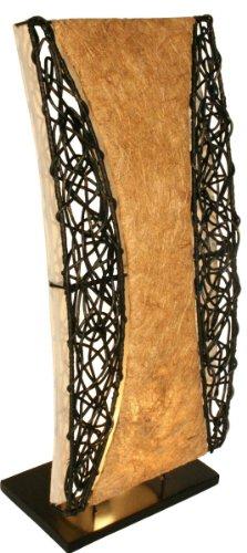 Guru-Shop Tischlampe/Tischleuchte Tioman - in Bali Handgemacht aus Naturmaterial, 70x30x15 cm, Dekolampe Stimmungsleuchte (Natur-tischleuchten)