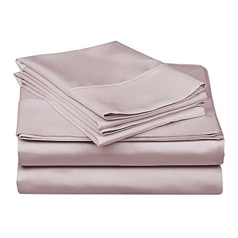 Superior - Ensemble de draps, 183 x 213 cm, 4 pièces, coton authentique, 100 fils au pouce carré coins profonds, couche simple, uni, lavande