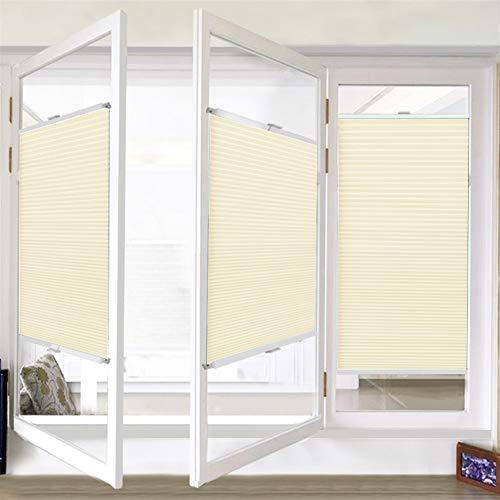 Liveinu Tende Plissettate Tenda Plissè Oscurante Impermeabili con Morsetto di Montaggio Protezione dalla Luce e Ai Raggi Solari per Finestra e Porta 65x130cm Giallo e Bianco