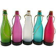 Winterworm Juego de 5 funciona con energía solar botella de Multicolor con cuerda de cáñamo lámpara