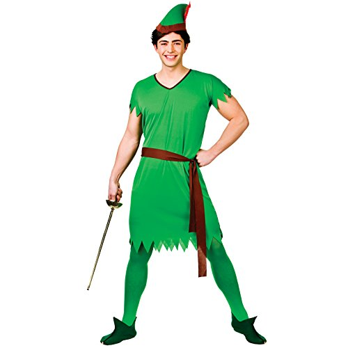 Peter Mann Kostüm Pan - Lost Boy/Elf/Robin Hood - Adult Costume Man: XL (Chest: 48