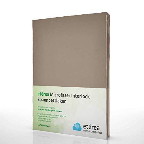 #15 Etérea Classic Microfaser Interlock Kinder-Spannbettlaken, Spannbetttuch, Bettlaken, 60x120 - 70x140 cm, Mocca