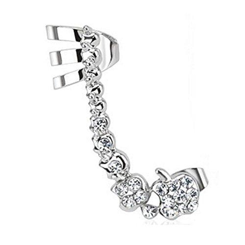 Bungsa® Links - Ear Cuff Edelstahl Kristallkette Ohrstecker silber für Damen (Conch Fake Piercing Ring Clip Ohrringe Ohrhänger Ohrklemmen Damen Frauen Herren Mode)