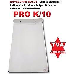10 Enveloppes à Bulles blanches matelassée PRO k/10 370 x 480 + 50 mm (dimension pochette intérieure) idéale comme protection pour envoi d'objet grand format A3 ( Vêtements, cadres etc.)Ref-ENVB10B