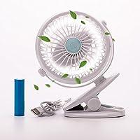 Eyoo Ventilatore a Batteria con Mini Clip, Portatile Alimentazione a Batterie Ricaricabili o USB, Ventilatori da Tavolo Silenzioso per Passeggino, Auto, Casa Ufficio, Viaggio (Bianco)