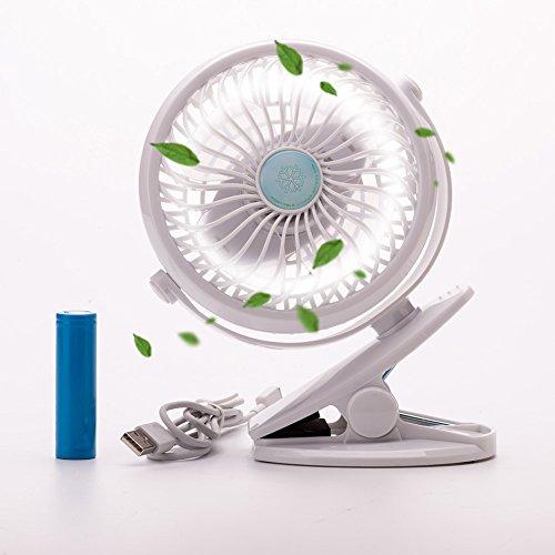 USB Clip Ventilator mit Aufladbare Batterie mini Tischventilator Fan   Stufenlose Geschwindigkeitsmodi, 360° Rotation   PC, MAC, Notebook für den Schreibtisch, Kinderwagen, Rollstuhl, Schlafzimmer, Camping (Weiß) Luft-ventilator Mit Batterie Betrieben