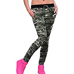 Saoye Fashion Mujer Pantalones Camuflaje Leggins Deporte Slim Fit Ajustado Vintage Niñas Ropa Hippie Moda Camo Running Leggings Pantalones Deportivos Pantalon Yoga (Color : Verde, Size : S)