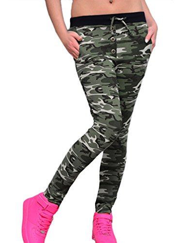Mujer Pantalones Camuflaje Leggins Deporte Slim Fit Ajustado Vintage Niñas Ropa Hippie Moda Camo Running Leggings Pantalones Deportivos Pantalon Yoga (Color : Verde, Size : M)