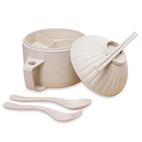 nstant Nudelschüssel-Set,große Kapazität japanische Ramen Nudelsuppe Schüssel Kit Shell Form Haushaltsgeschirr mit Deckel Essstäbchen Löffel für Schlafsaal,Familie,Büro ()