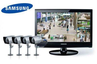 """SAMSUNG Videoüberwachung Set 8 Kanal H.264 DVR im 22"""" Monitor 4 Überwachungskameras SME-4220P"""
