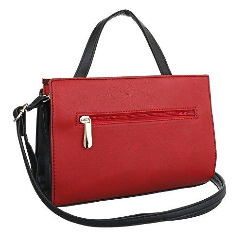Ital-Design, Borsa a spalla donna nero/rosso