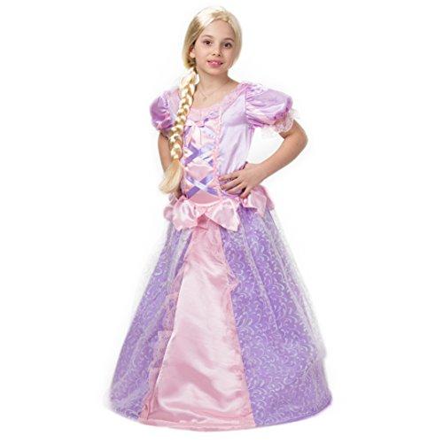 leid für Mädchen – Rapunzel-Kostüm – Karnevals-Kostüm für 3-12 Jahre – top Qualität – Die schönste Prinzessin an Karneval, Fasching, Fastnacht (Ziemlich In Zopf Perücke)