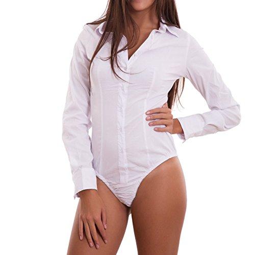 Toocool body donna camicia maglia maniche lunghe colletto perizoma nuovo c-s021 [s,bianco]