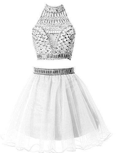 Sarahbridal Damen Cocktail Kleid Weiß