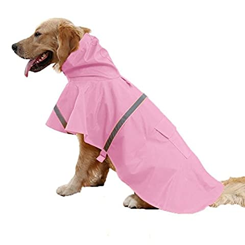 Pet Dog Raincoat Lightweight Waterproof Clothes With Leash Hook Breathable Cat Rain Jacket Hooded Poncho Adjustable With Reflective Strip (XL, Pink)2