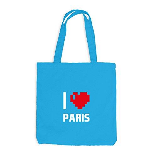 Jutebeutel - I Love Paris - Frankreich Reisen Herz Heart Pixel Surfblau