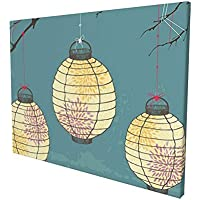 """Lantern Decor Three Paper Lanterns Hanging On The Branches Lighting Fixture Source Lamp Boho Print Teal Yellow Painting Premium Panoramic Canvas Wall Art Painting 12""""X 16"""""""