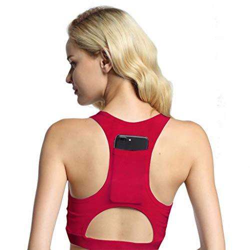 Yvelands Damen Yoga-BH Einteiler Sport-BH atmungsaktiv Fitness 1/2 BH Yoga-BH mit Tasche(Rot,L)