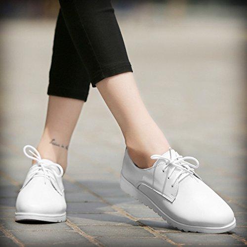 Damen Schnürhalbschuhe mit Gummi Sohlen Moderne Anti-Rutsch Atmungsaktive Flache Damen Halbschuhe Weiß