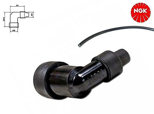NGK Kerzenstecker + Zündkabel - 90° Winkel - LZFH - für Motorrad Moped Roller Mofa (4-003)