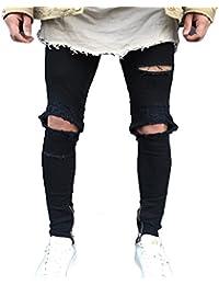 Juleya Jeans hombre pantalones de mezclilla Slim Fit Stretch Skinny Denim Jeans agujeros Jeans destruidos elásticos… ohqwJ