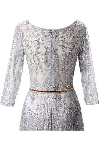 ivyd ressing Femme élégant longue robe robe ceinture A ligne Party Prom Lave-vaisselle manches Robe Robe du soir Silber