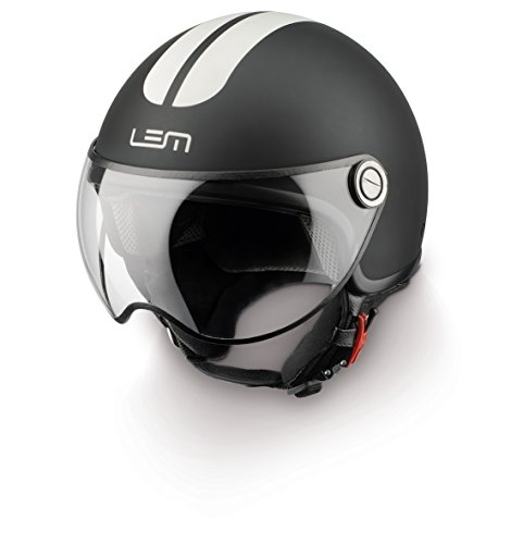 Casco Moto LEM - Roger Go Fast, NEGRO MATE CON RAYAS BLANCAS (S)