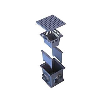 ALTADirekt Einlaufschacht Einlaufkasten Kunststoff schwarz mit zwei Geruchsverschlüssen, Schmutzfangkorb, Kunststoffrost, vormontiert, 312mm x 312mm x 300mm