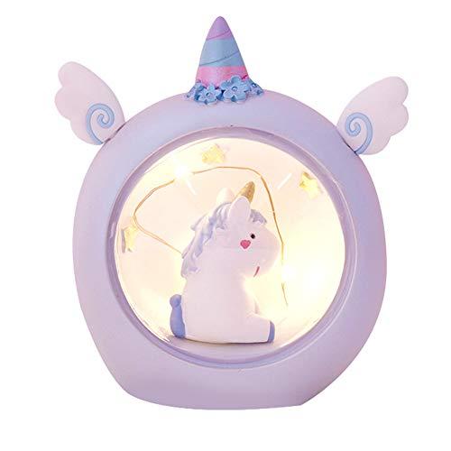 Unicornio Resina lámparas LED de luz de noche Creative Design noche luz de la noche Mesita de noche de la decoración de la lámpara LED de regalo Atmósfera estrella de la luz lámpara de escritorio azul