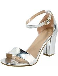UH Mujer Chunky Heel Sandal Sandalias Tacon Bloque Sandalias de Correa de Tobillo Boda Zapatos