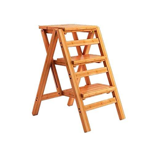 ZEMIN Pliable Tabouret Échelle Escalier Monter Ménage Intérieur 2/3/4-step Épaissir Bois, 3 Tailles (Couleur : Le Jaune, Taille : 42x55x68cm)