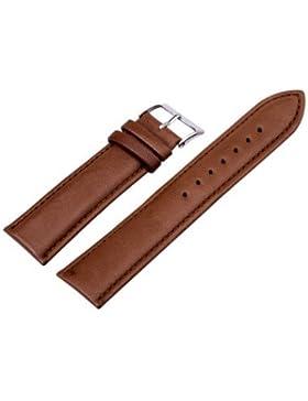 24mm Unisex Genuine Leder Braun Uhrarmband Uhrband Watch Strap Band Damen Herren