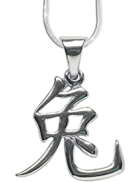 Chinesisches Sternzeichen Hase Anhänger Amulett aus 925er Silber mit 1,2mm Schlangenkette 45cm Halskette Schmucksäckchen...